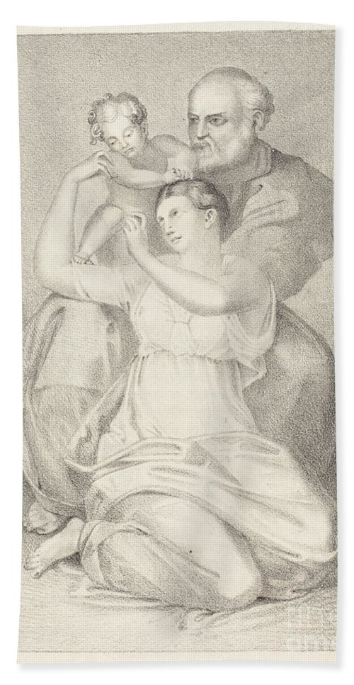 Beach Towel featuring the drawing Holy Family, From Michelangelo by Henry Noel Humphreys After John Flaxman