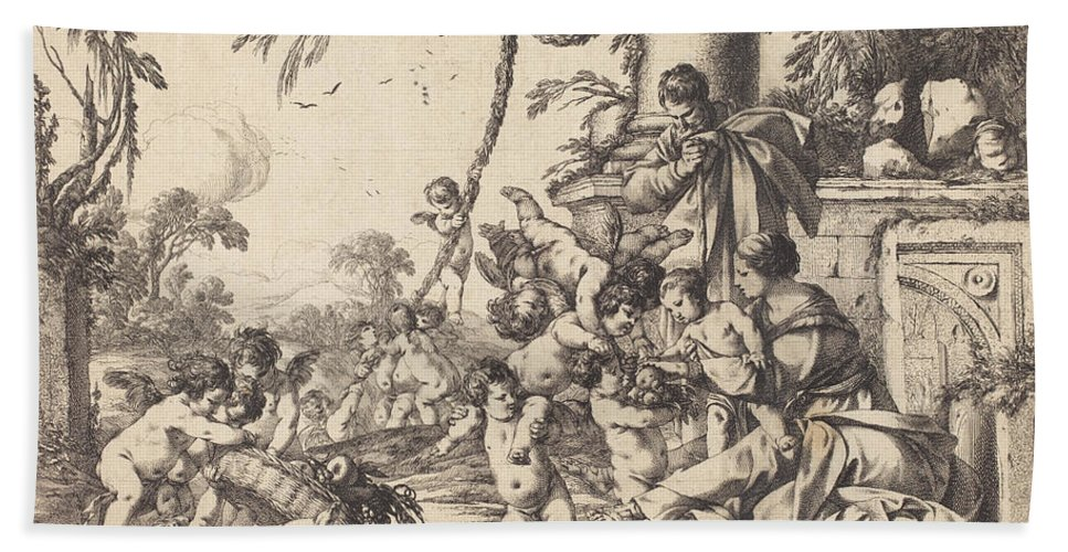 Beach Towel featuring the drawing Holy Family With Putti by Laurent De La Hyre