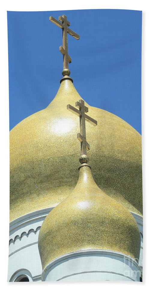 Holy Virgin Cathedral Beach Towel featuring the photograph Holy Virgin Cathedral In San Francisco by Carol Groenen