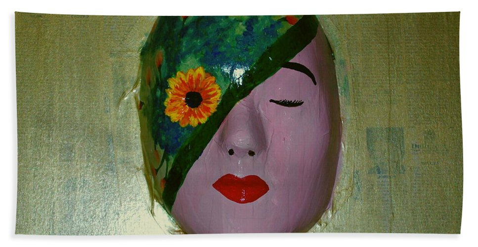 Gold Beach Towel featuring the painting Homage One by Laurette Escobar