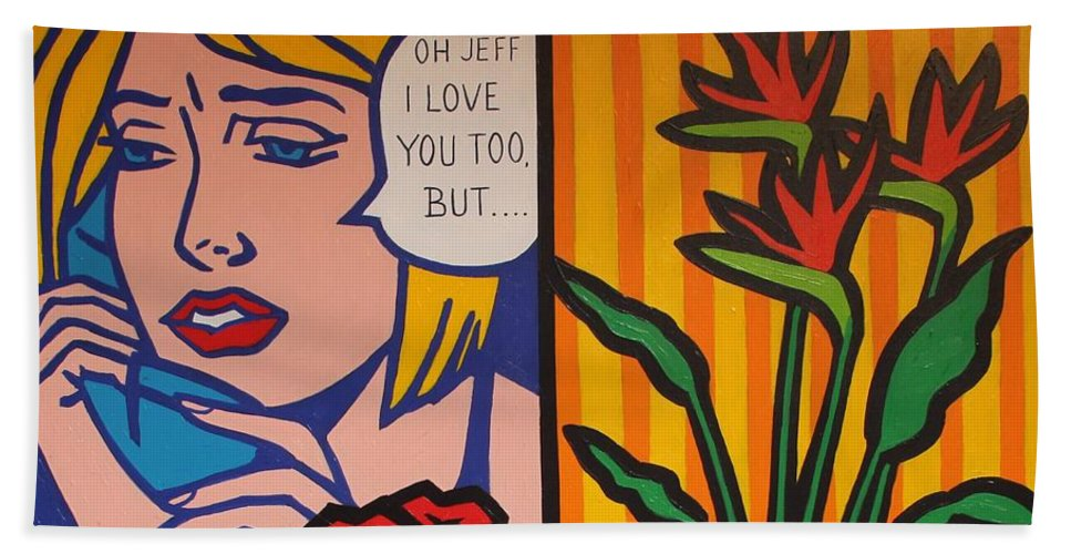 Matisse Beach Towel featuring the painting Homage To Lichtenstein And Wesselmann by John Nolan