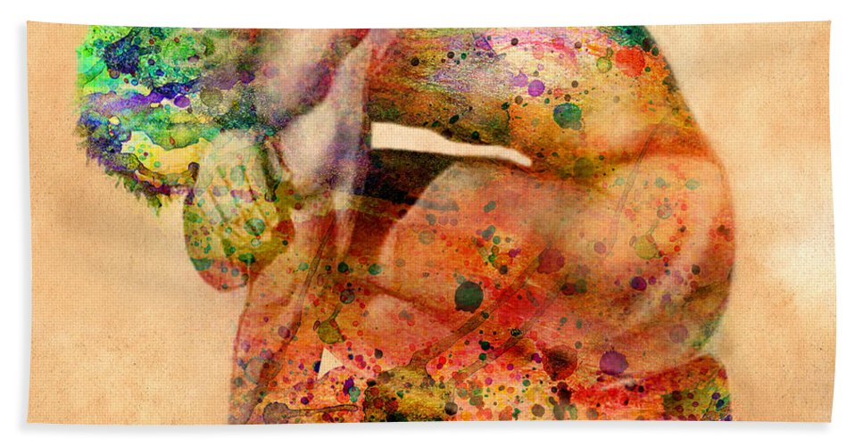 Male Nude Beach Sheet featuring the digital art Hombre Triste by Mark Ashkenazi