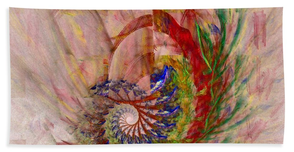 Non-representational Beach Towel featuring the digital art Home By The Sea by NirvanaBlues