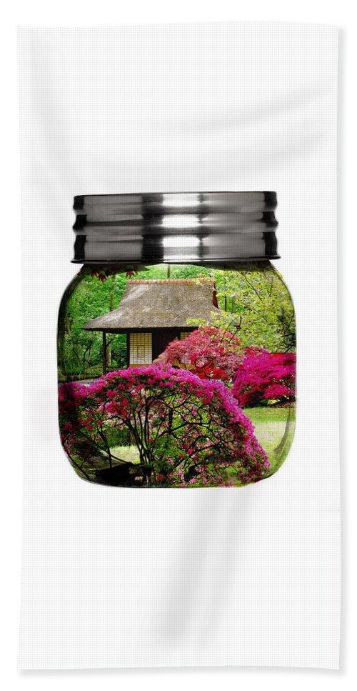 Flower Beach Towel featuring the mixed media Home Flower Garden In A Glass Jar Art by Marvin Blaine