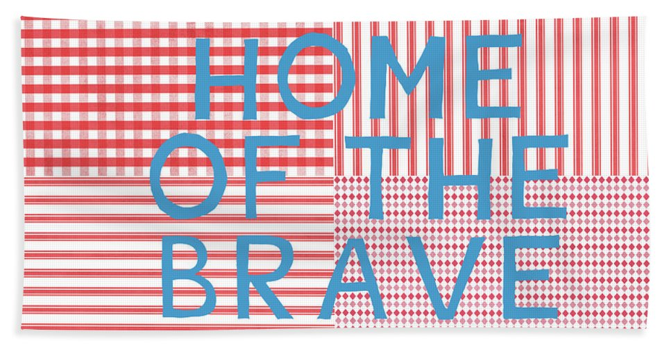 Red Beach Towel featuring the digital art Home Of The Brave- Art By Linda Woods by Linda Woods