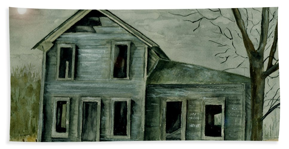 Landscape Watercolor House Ruin Moon Trees Sky Beach Towel featuring the painting Home Sweet Home by Brenda Owen