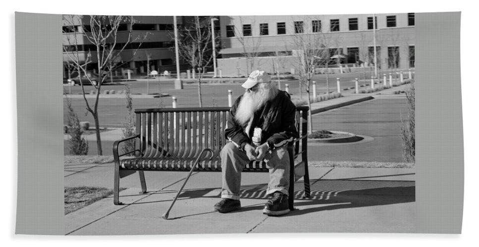Portrait Beach Towel featuring the photograph Homeless Man by Angus Hooper Iii