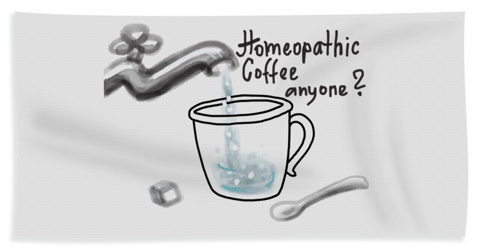 Homeopathy Beach Towel featuring the drawing Homeopathic coffee by Ivana Westin