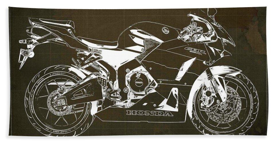 Honda Cbr600rr 2013 Blueprint, Brown Vintage Background Beach Towel