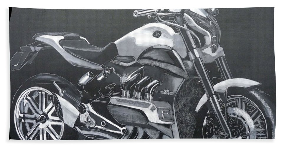 Honda Beach Towel featuring the painting Honda Concept Evo 6 by Richard Le Page