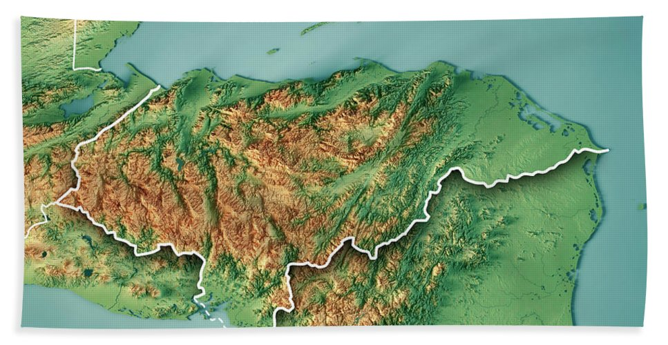 Honduras Topographic Map.Honduras Country 3d Render Topographic Map Border Beach Towel For