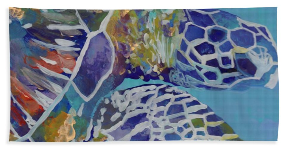 Honu Beach Towel featuring the painting Honu by Marionette Taboniar