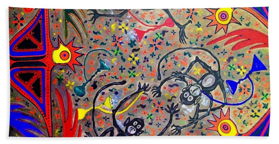 Contemporary Folk Art Beach Sheet featuring the painting Hookah Monkeys - Jinga Monkeys Series by Fareeha Khawaja