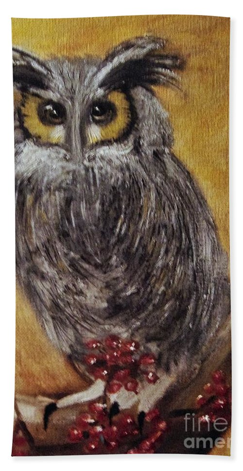 Long-eared Beach Towel featuring the painting Hooting by Angela Cartner