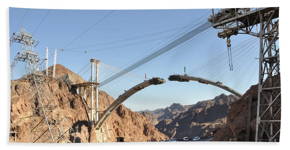Hoover Beach Towel featuring the photograph Hoover Dam Bypass Highway Under Construction by Gary Whitton