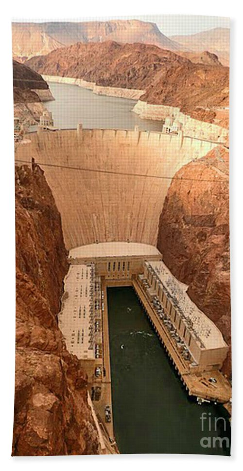 Hoover Dam Beach Towel featuring the photograph Hoover Dam Scenic View by Angela L Walker