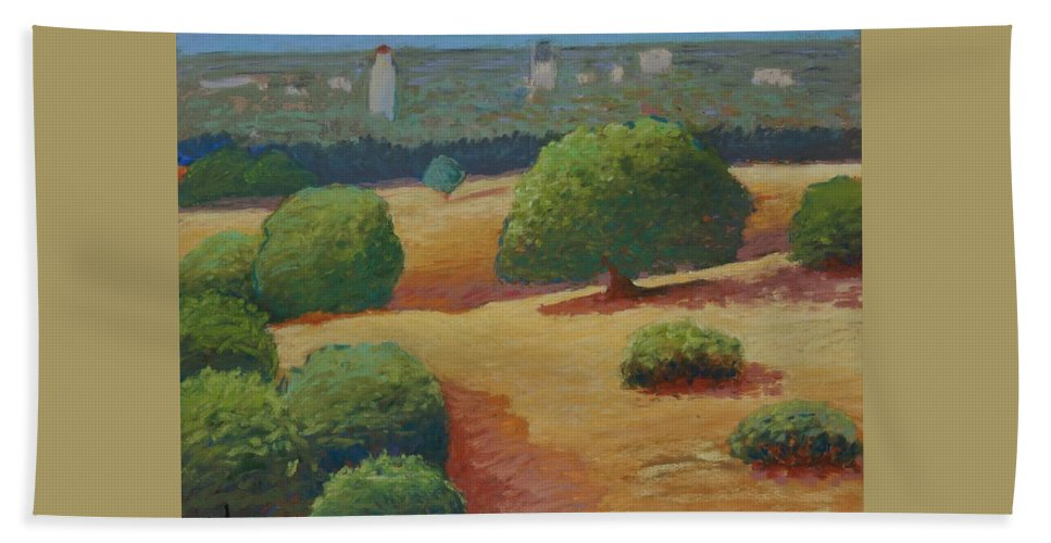 Stanford Beach Towel featuring the pastel Hoover Tower In Sight by Gary Coleman
