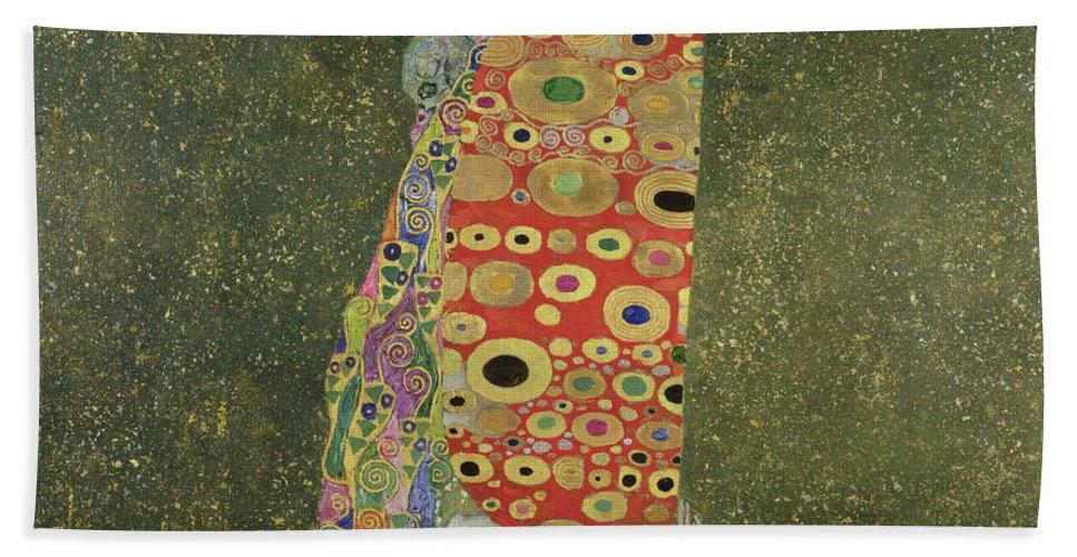 Die Hoffnung Ii (hope Ii) 1907-08 (oil And Gold Paint On Canvas) Beach Towel featuring the painting Hope II by Gustav Klimt