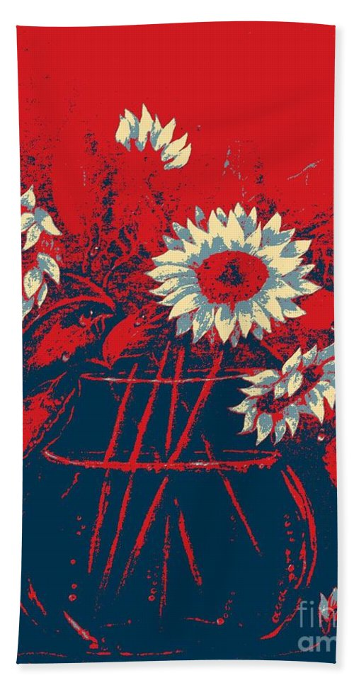 Sunflowers Beach Towel featuring the digital art Hope Sunflowers by Barbara Griffin