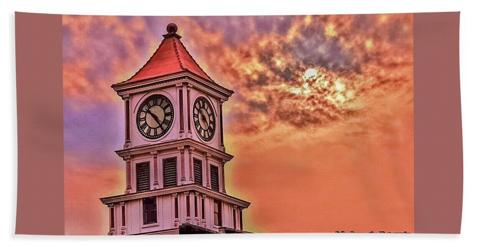 Clock Beach Towel featuring the photograph Hoptown Time by Chad Fuller