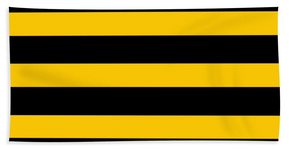 Stripes Beach Towel featuring the digital art Horizontal Black Outside Stripes 05-p0169 by Custom Home Fashions