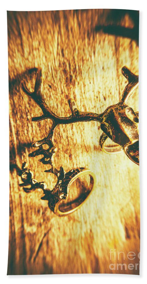 Hunters Beach Towel featuring the photograph Horned Animal Rings by Jorgo Photography - Wall Art Gallery