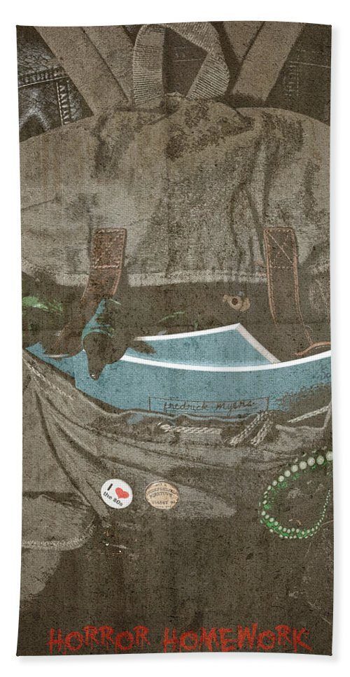 Beach Towel featuring the digital art Horror Homework by Clinton Lofthouse