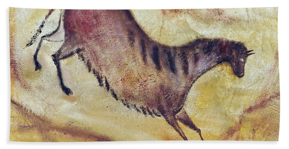 Prehistoric Beach Towel featuring the painting Horse A La Altamira by Michal Boubin