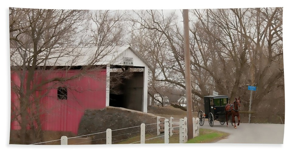 Bridge Beach Towel featuring the photograph Horse Buggy And Covered Bridge by David Arment