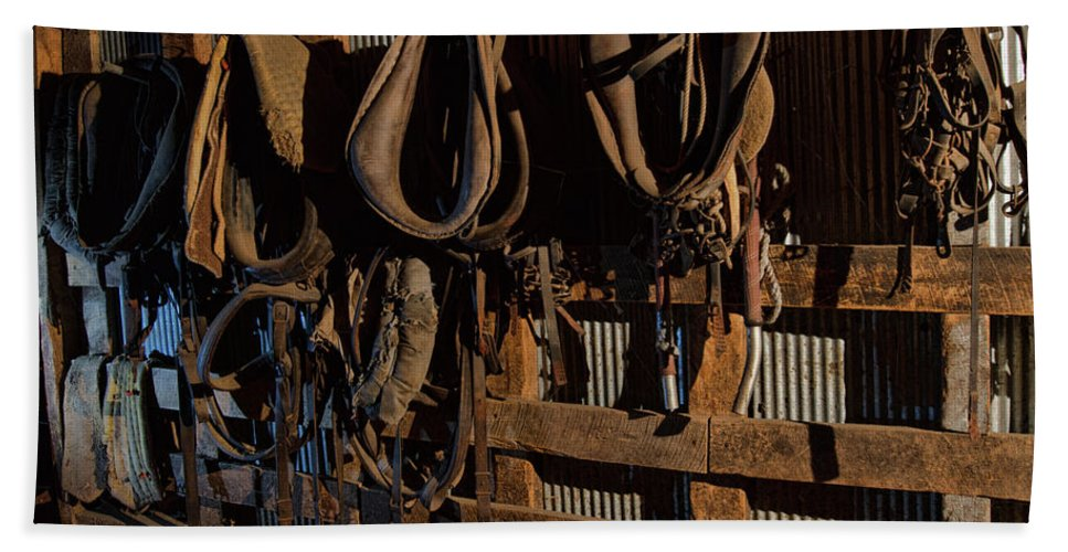 Barn Beach Towel featuring the photograph Horse Collars and Harness by Alana Thrower