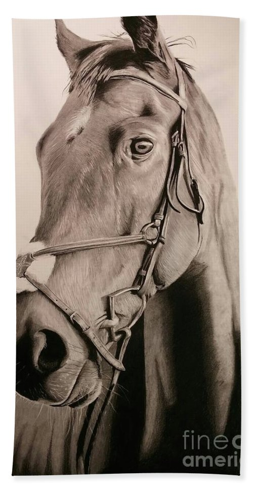 Portrait Beach Towel featuring the drawing Horse by Kenneth Pettay