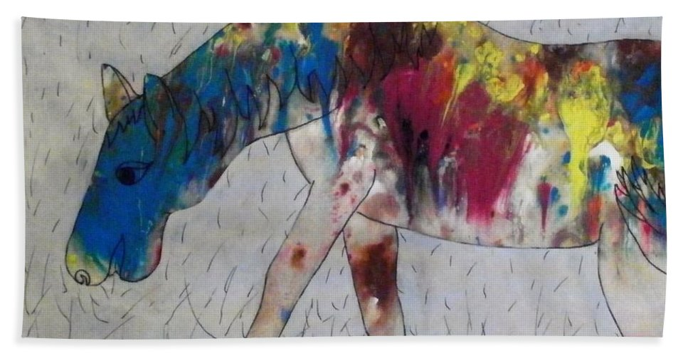Tie-dye Beach Towel featuring the painting Horse Of A Different Color by Thomasina Durkay