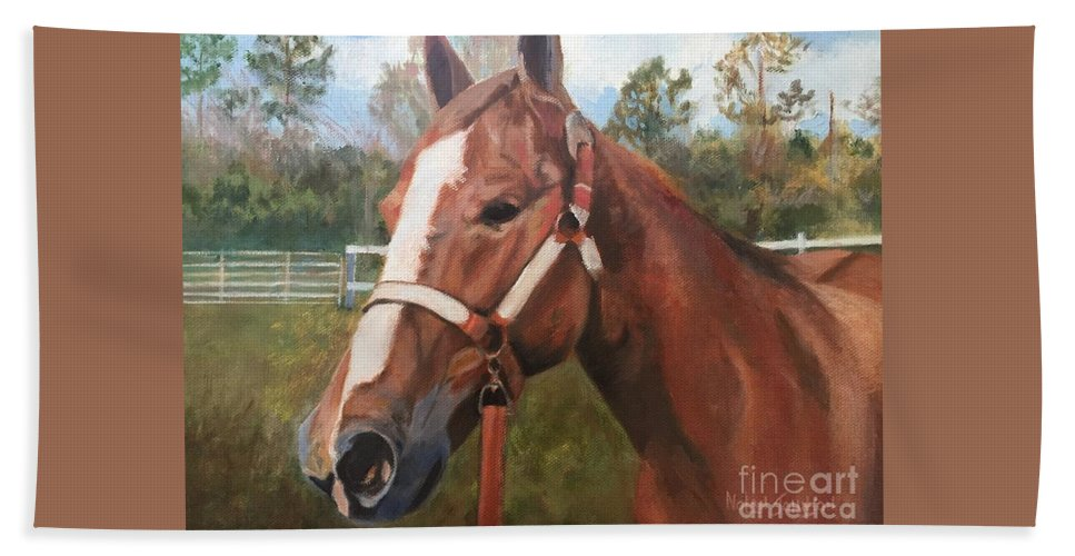 Horse Beach Towel featuring the painting Red Dun Horse - Reds Done Dancin By Marilyn Nolan-johnson by Marilyn Nolan-Johnson