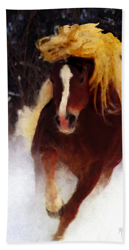 Horse Beach Towel featuring the painting Horse Running In Snow by David Derr