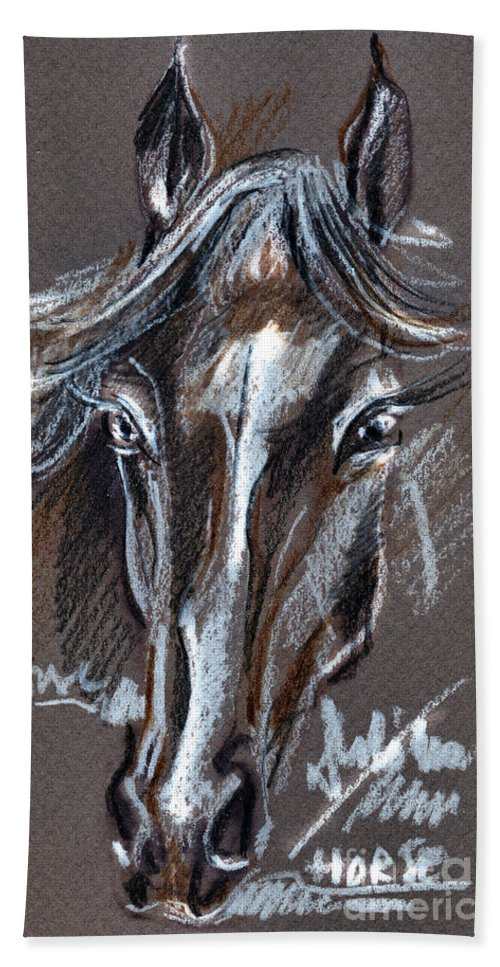 Crayons Drawing Beach Towel featuring the drawing Horse Study by Daliana Pacuraru