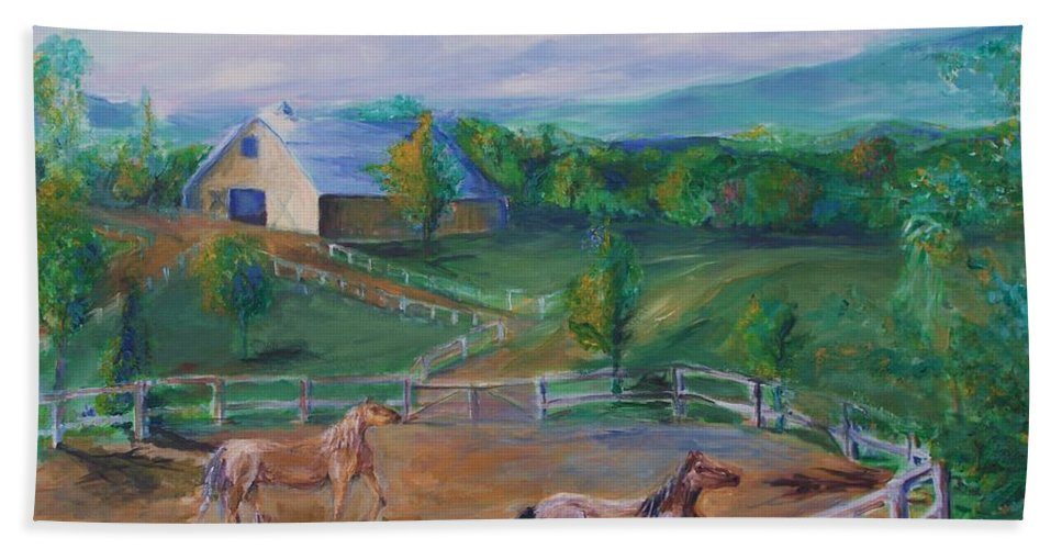 Animals Beach Towel featuring the painting Horses At Gettysburg by Eric Schiabor