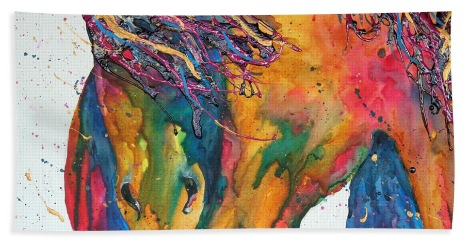Horses Beach Towel featuring the painting Horses In Love by Connie Beattie