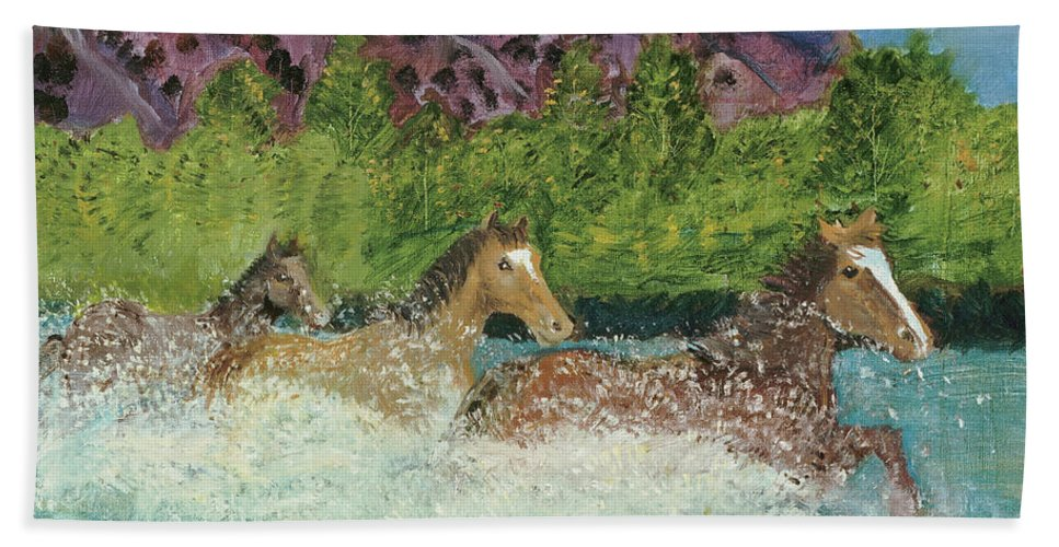 Horses Beach Towel featuring the painting Horses In Stream by Terry Lewey
