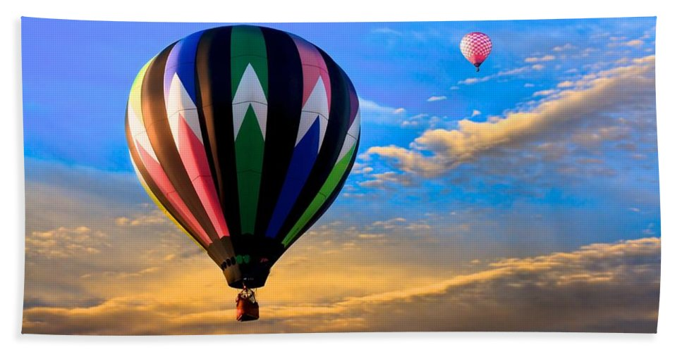 Hot Air Balloon Beach Towel featuring the photograph Hot Air Balloons At Sunset by Bob Orsillo