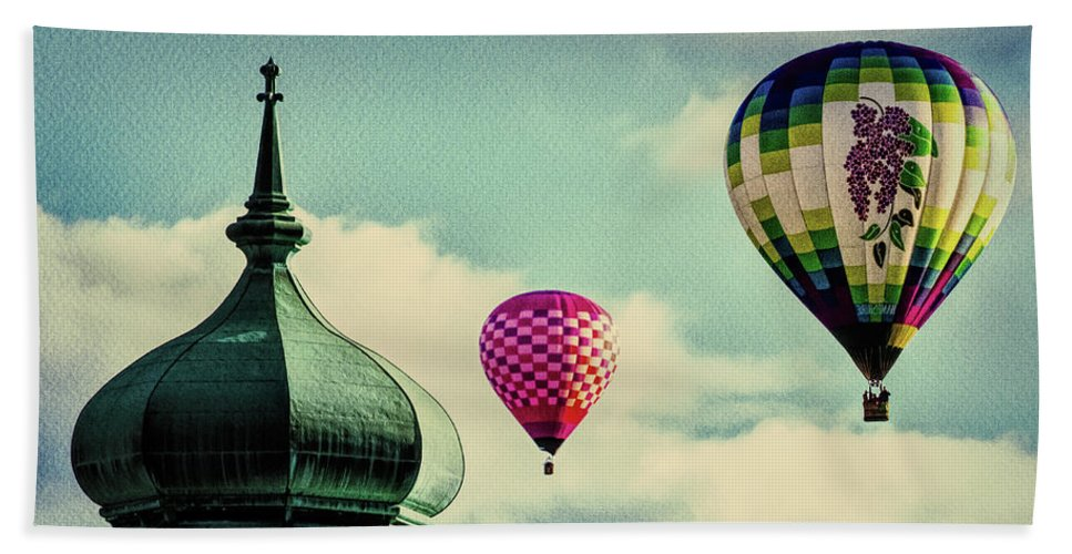 Hot Air Balloon Beach Towel featuring the photograph Hot Air Balloons Float Over Lewiston Maine by Bob Orsillo