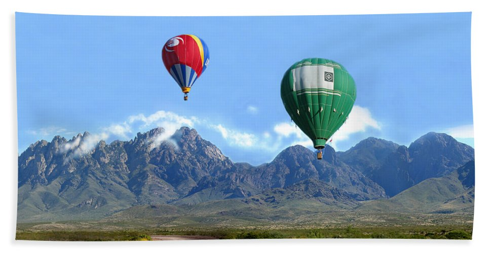 Organ Mountains-desert Peaks National Monument Beach Towel featuring the photograph Hot Air Over The Organ Mountains by Jack Pumphrey