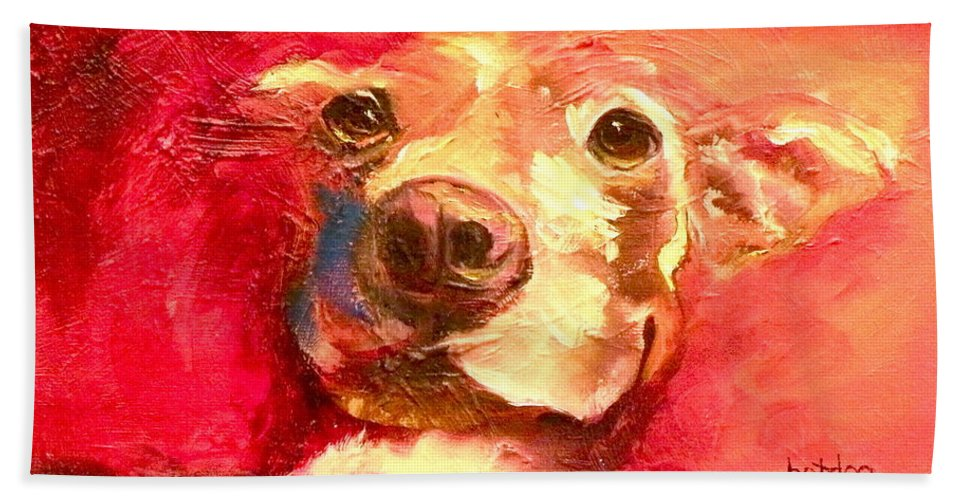 Dogs Beach Towel featuring the painting Hot Dog Chilly Dog Study by Susan A Becker