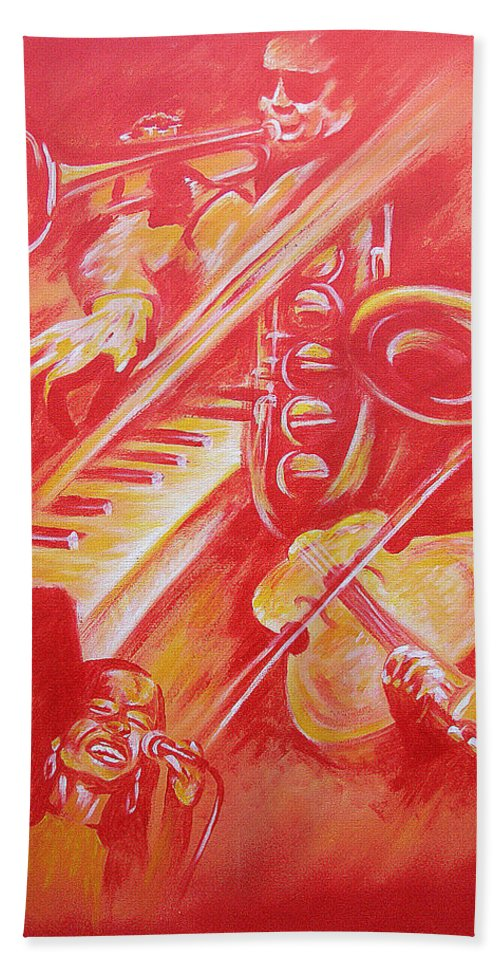 Jazz Music Instruments Singing Acrylic Canvas Beach Towel featuring the painting Hot Jazz by Shaun McNicholas