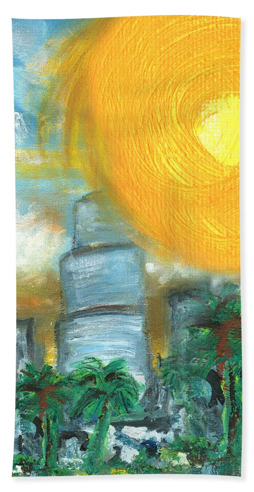 Miami Beach Towel featuring the painting Hot Miami Sky by Jorge Delara
