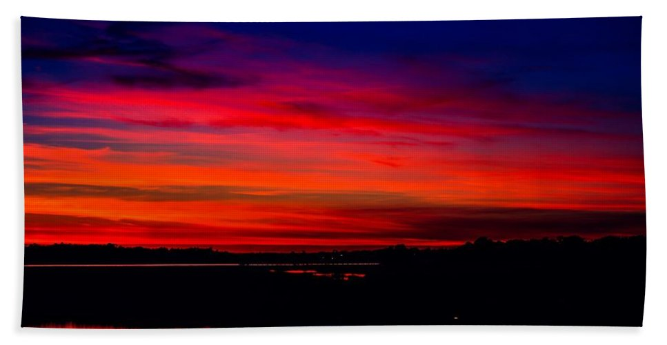 Folly Beach Beach Towel featuring the photograph Hot Pink Sunset by Angela Sherrer