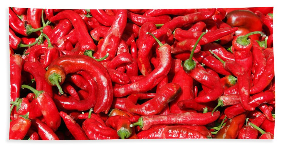 Hot Beach Towel featuring the photograph Hot Red Peppers In The Summer Sun by Lee Serenethos
