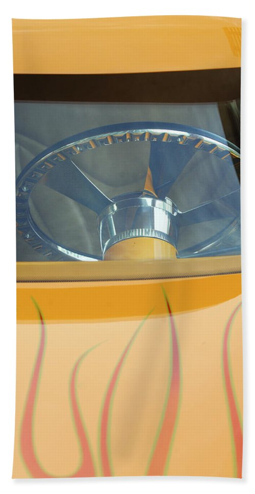 Hot Rod Beach Towel featuring the photograph Hot Rod Steering Wheel 2 by Jill Reger