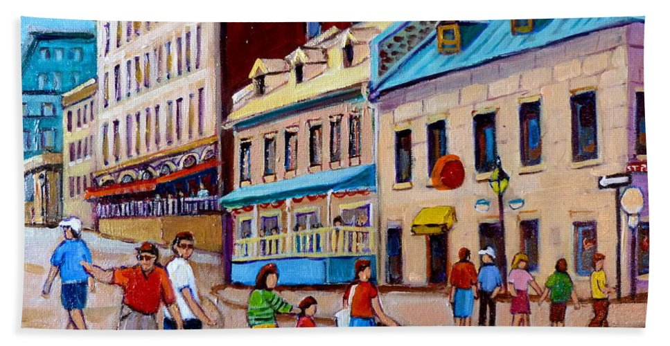 Hotel Nelson Old Montreal Beach Towel featuring the painting Hotel Nelson Old Montreal by Carole Spandau