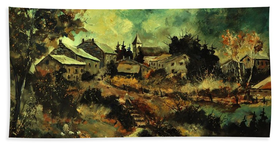 Landscape Beach Towel featuring the painting Houdremont by Pol Ledent