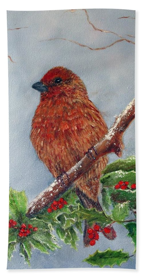 Finch Beach Towel featuring the painting House Finch In Winter by Loretta Luglio